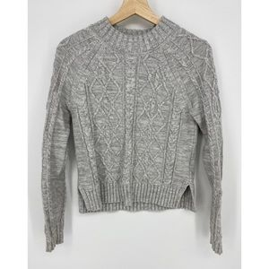 Gap Cable Knit Sweater Gray Cotton Crew Neck